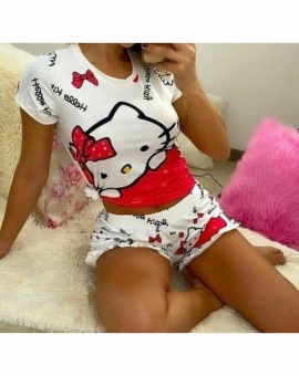 Conjunto Baby Doll Feminino Curto Hello Kitty