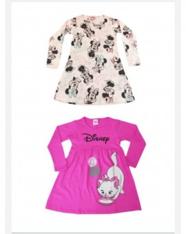 Vestido Infantil Manga Longa Personagens Disney Minnie